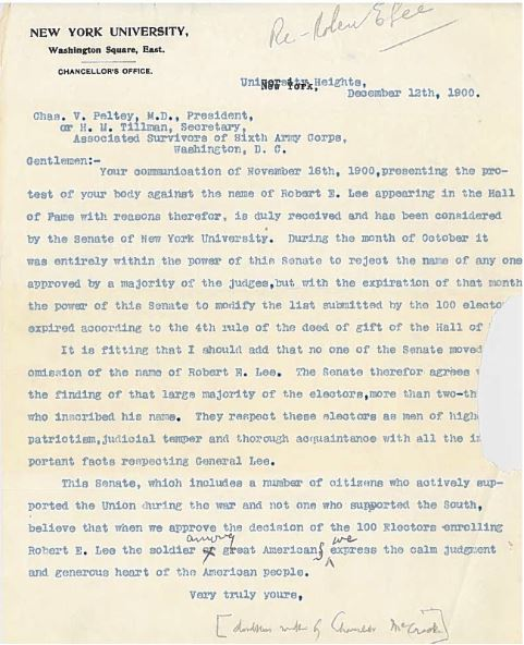 New York University Chancellor's Office response to Associated Survivors of the Sixth Army Corps, December 13, 1900. Bronx Community College Archives.
