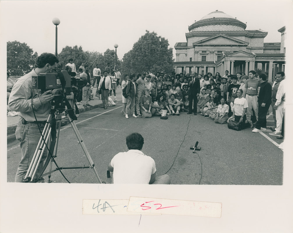 "Dr. Roscoe Brown and Bronx Community College students in front of the Hall of Fame for an appearance on the ""Good Morning America"" TV show, 1985. Bronx Community College Archives."