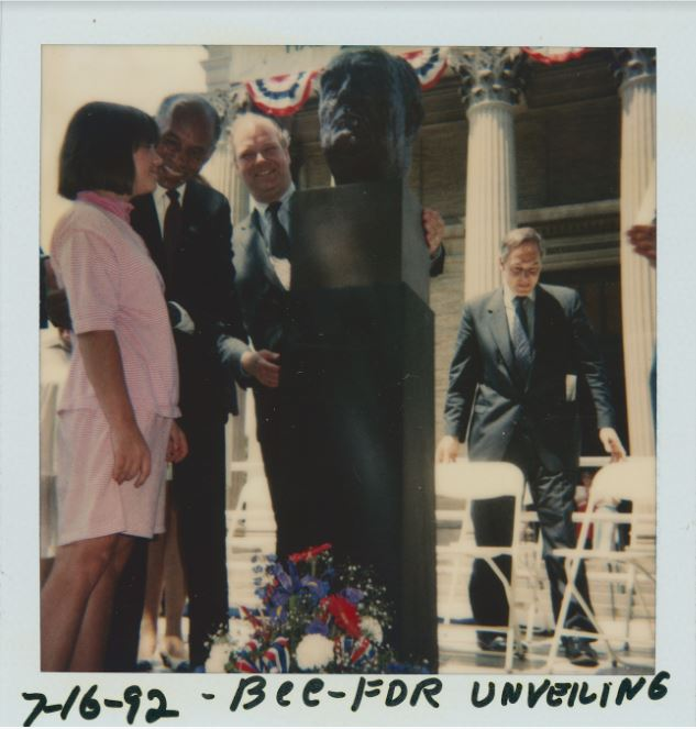 Dr. Roscoe Brown at Franklin D. Roosevelt bust unveiling, 1992. Bronx Community College Archives.