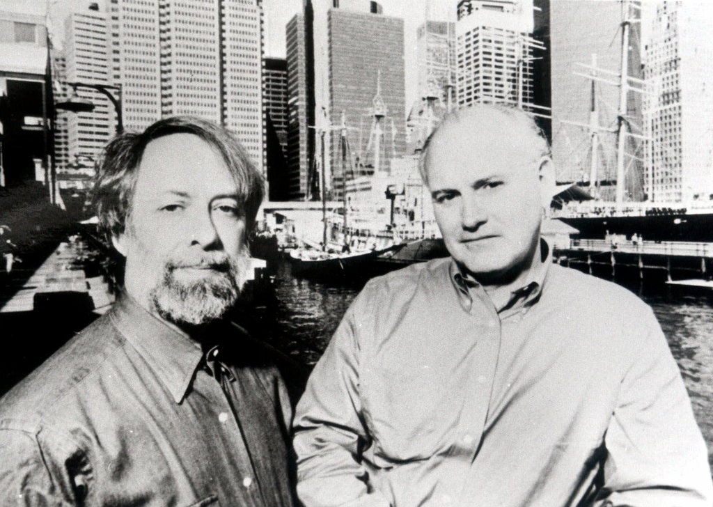 The historians Edwin G. Burrows, right, and Mike Wallace at the South Street Seaport in Manhattan in an undated photograph. Professor Burrows wrote two other books on New York City history. Credit: Associated Press