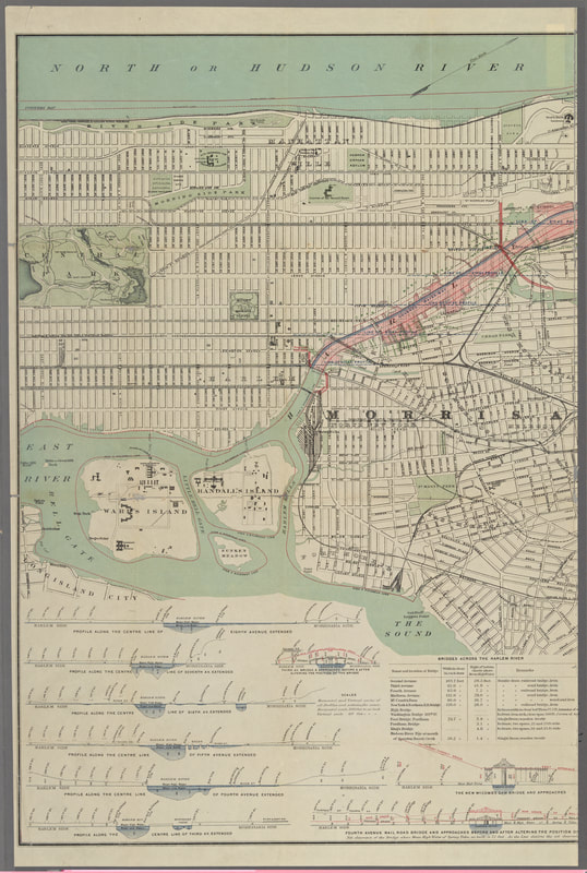 Real estate speculators, shippers, and business interests could not agree on the best way to utilize the Harlem, debating whether public works should facilitate traffic across the river or shipping along the river. Coastal trade interests advocated for a Harlem River Canal, but their opponents argued that transportation across the river was more important. This map of the river between the Hudson River (top) and the East River (bottom) accompanied an unsuccessful proposal to have the state legislature turn the Harlem into a subterranean river and connect Manhattan with the mainland between Third and Eighth Avenues (section shaded red). Source: Map of the Harlem River and Spuyten Duyvil Creek from Ward's Island to the Hudson River, Showing Project for a Covered Waterway Sixty Feet Wide to Be Built on the West Line of the Harlem River [ . . . ]. Map, 1892. Lionel Pincus and Princess Firyal Map Division, New York Public Library Digital Collections.