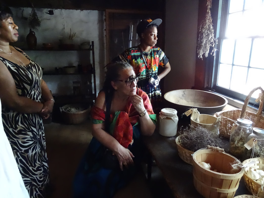 From Left to Right: Denise Jannah, Gloria Wekker and Farida Sedoc inside the Wycoff House Museum, Brooklyn. The house was built by Pieter Claesen ca.1637; It is considered New York City's oldest building.