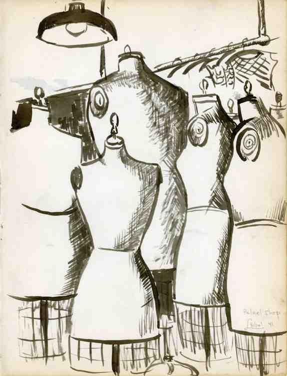 Palnel Shop; brush/ink drawing; 1941