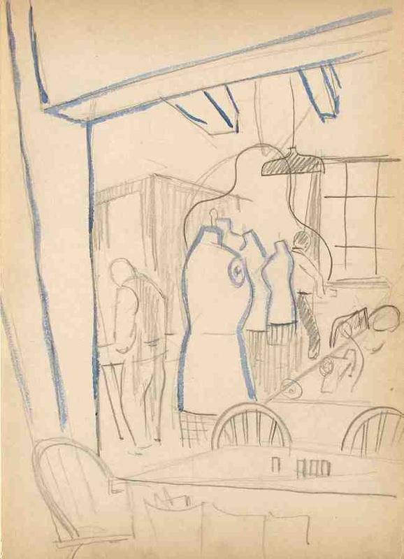 Dress Factory Study; pencil/watercolor; 1940