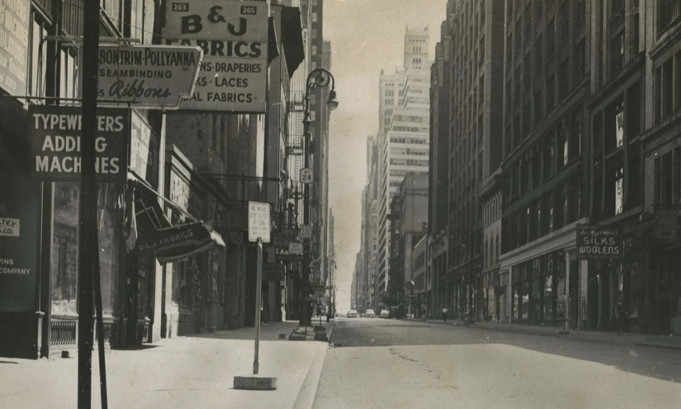 40th Street between 7th and 8th Avenues, photograph by Nat Fein for the Herald Tribune, 2 February 1958, Old York Library Box 5