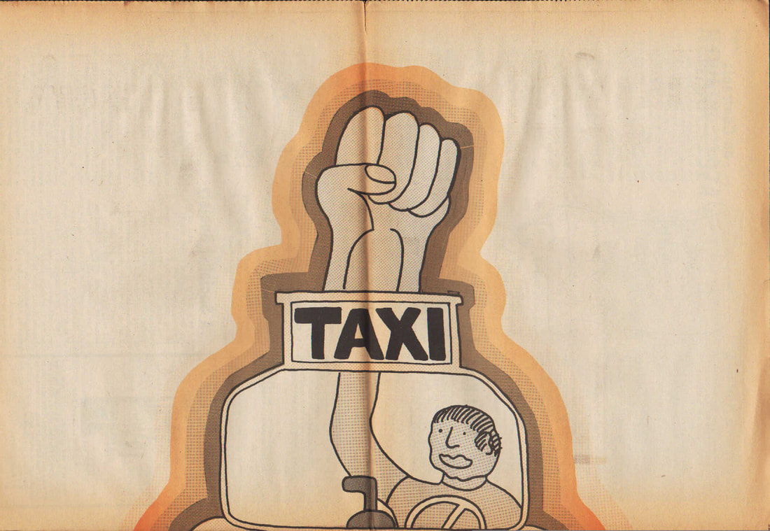 Worker Control Poster, Hot Seat 30, October 1974. Taxi Rank & File Coalition.