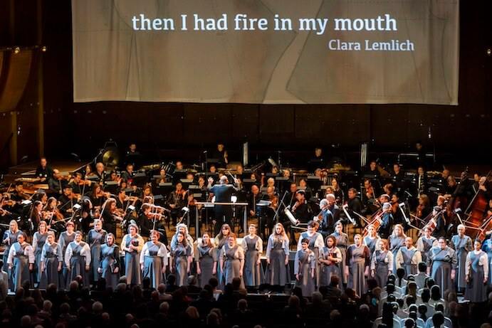 New York Philharmonic, The Crossing, Young People's Chorus of New York City perform Protest, the third movement of composer Julia Wolfe's multimedia oratorio, Fire in my mouth in David Geffen Hall, January 2019. Photo by Chris Lee, courtesy of The New York Philharmonic.
