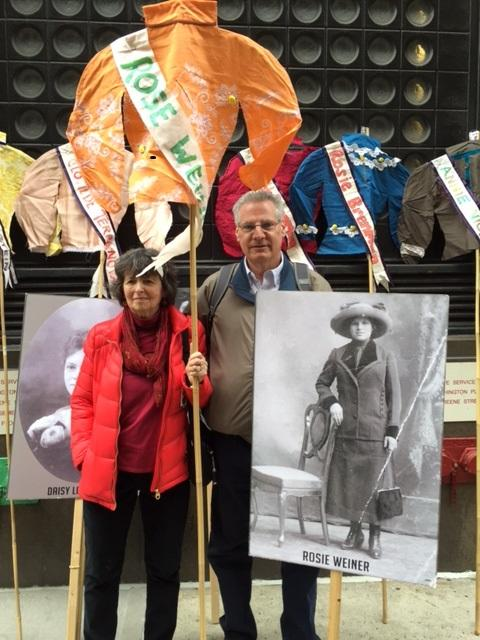 Suzanne Pred Bass and Don Weiner, with photo of their great aunt Rosie Weiner, at the 2016 annual Triangle Fire Commemoration. Photo courtesy Triangle Fire Coalition.