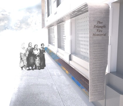 A rendering of the proposed Triangle Fire Memorial on the façade of the Brown Building, 23-29 Washington Place. The target date for completion of the monument is March 25, 2020, 109 years after the Triangle Shirtwaist Factory Fire claimed 146 victims. Photo courtesy Remember the Triangle Fire Coalition.
