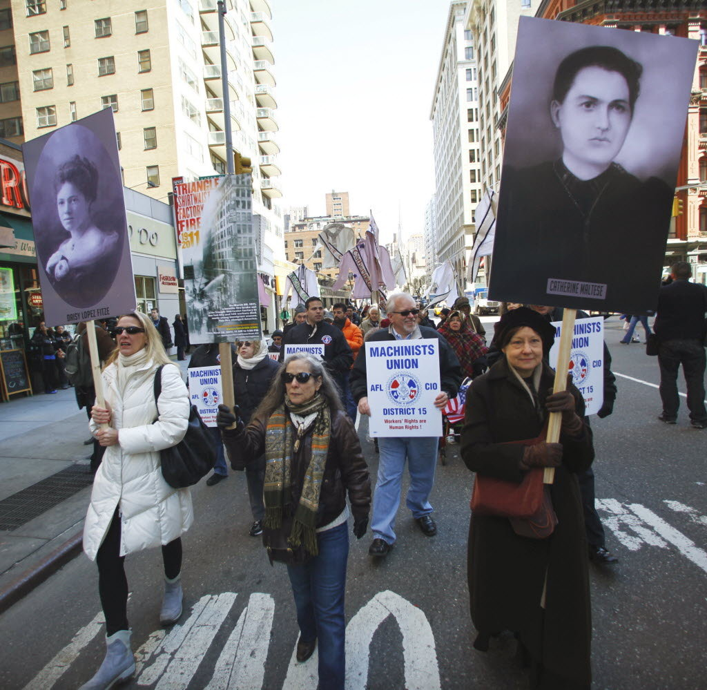 Marching in the 2011 Triangle Shirtwaist Memorial. Image courtesy Remember the Triangle Fire Coalition.