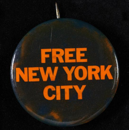 Mailer-Breslin campaign button, 1969. Museum of the City of New York.