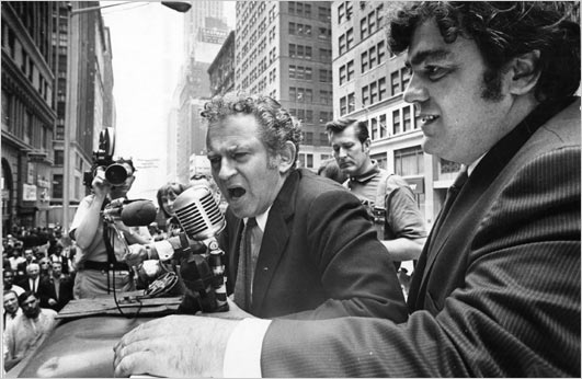 Norman Mailer and Jimmy Breslin campaigning in the Garment District, June 1969. The two sometimes verbally sparred with voters at events like these, ultimately alienating potential supporters. New York Times.