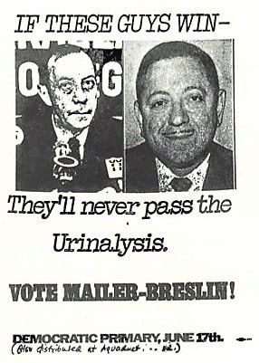 Sardonic advertisements like this one, picturing former mayor Robert F. Wagner and comptroller Mario Proccacino, reveal the how the 51st State team really felt about their competition. Campaign flyer, from Running Against the Machine: The Mailer-Breslin Campaign, 1969.
