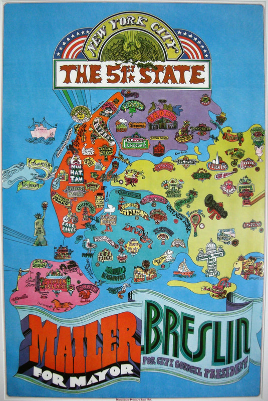 """The campaign employed colorful imagery to highlight the unique character of each New York City neighborhood. In the 51st State, those neighborhoods would become their own individual municipalities. Abe Gurvin, """"New York City: The 51st State"""", 1969. Library of Congress."""