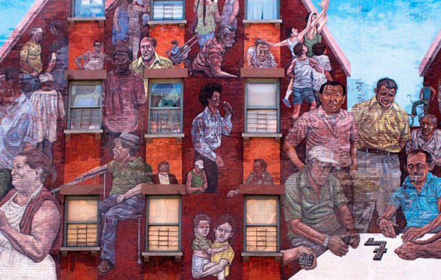 """""""The Spirit of East Harlem,"""" a mural by Hank Prussing."""