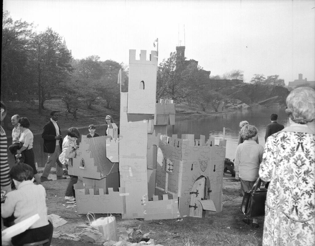 Build-Your-Own-Castle-and______*In It Day, October 23, 1966.For this more site-specific happening, the Parks Department provided participants with building materials like cardboard and encouraged them to create structures inspired by Belvedere Castle, one of the park's best-known and fanciful buildings.