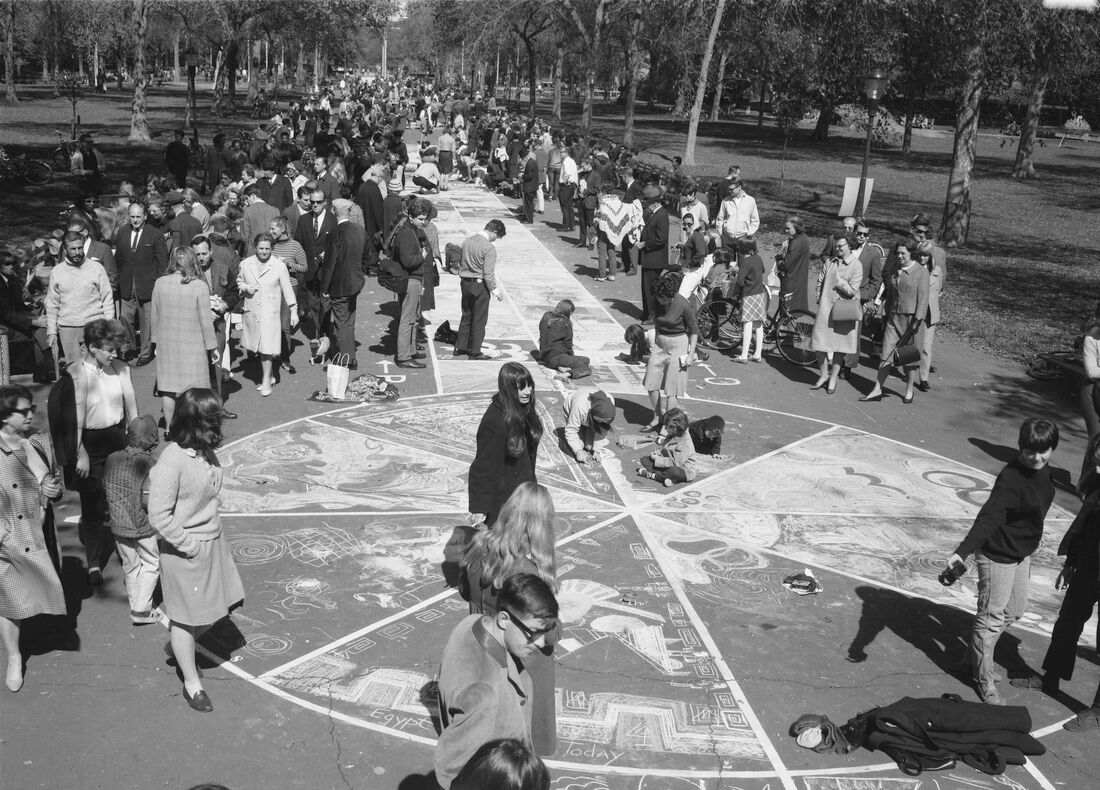 """Chalk Carpet of Color Contest, October 2, 1966. Whereas the Parks Department had historically created art projects for young children, during the 1960s, many events were intended for teenagers or adults. Conceived for """"sidewalk artists"""" fifteen-years or older, leaders of this event assigned participants to a designated area and instructed them to create a pattern inspired by a carpet. Prizes were awarded to six designers."""