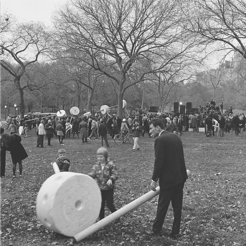 Giant Toys on the Mall, November 9, 1968. In November, 1968, the Department of Cultural Affairs provided adults and children with oversized Styrofoam and cardboard tinker toy–like objects designed by students from the Pratt Institute. The rock band Group Image played.