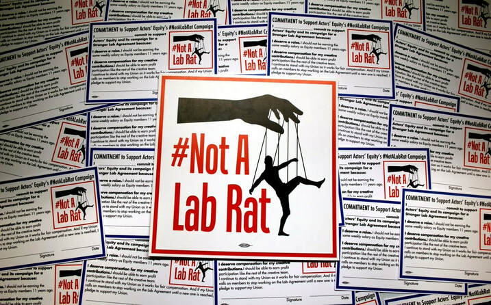 #NotALabRat flyer and commitment cards. Actors Equity Association Twitter.