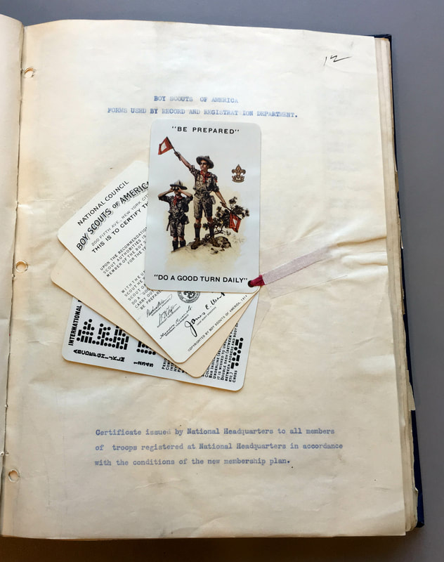 Page displaying ephemera including in a report on Boy Scouts in New York City.
