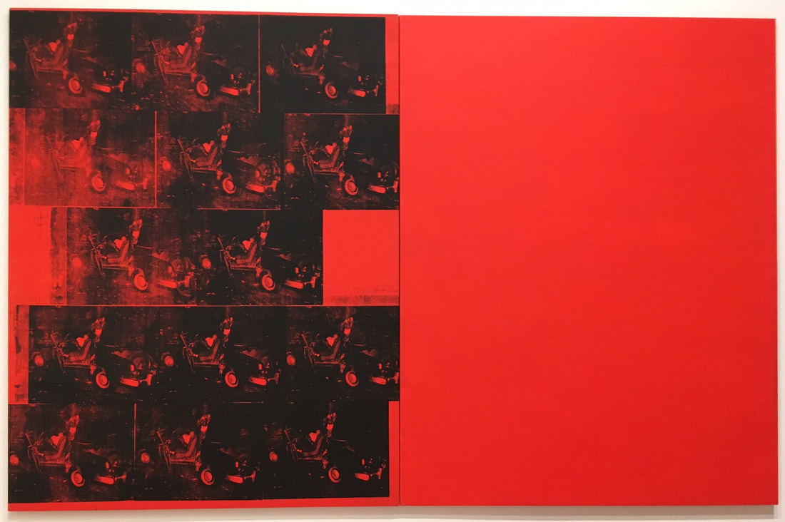 Orange Car Crash Fourteen Times, 1963. Silkscreen ink, acrylic, and graphite on linen, two panels. Photo by author.