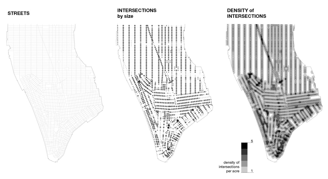 Figure 1: Network of Intersections: Manhattan's streets south of 42nd Street, 1850s