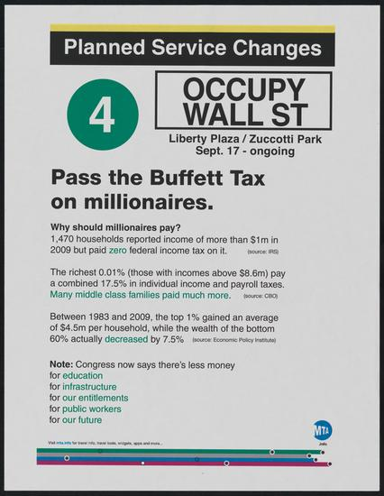 Occupy Wall Street flier, 2011. Museum of the City of New York.