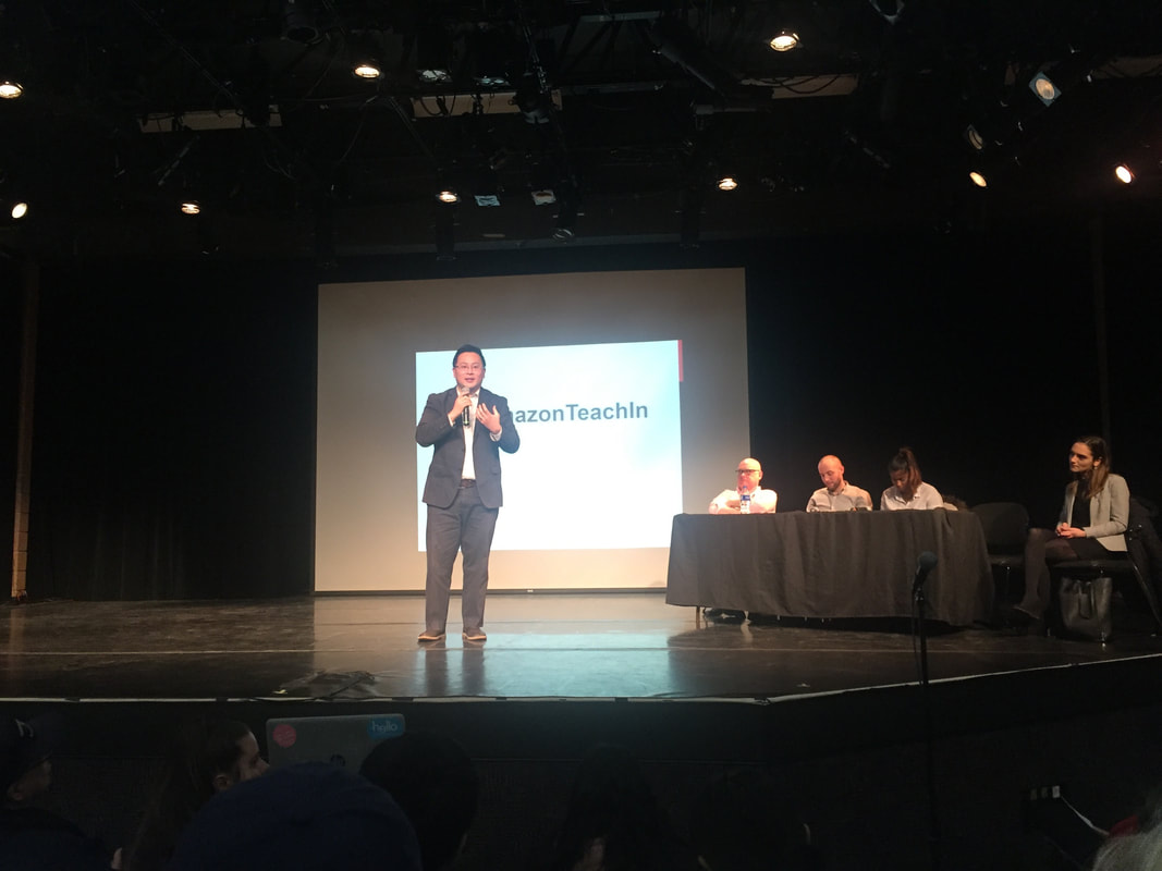 Assembly Member Ron Kim from Queens addresses crowd at Amazon Teach-In at LAGCC. Photo by author.