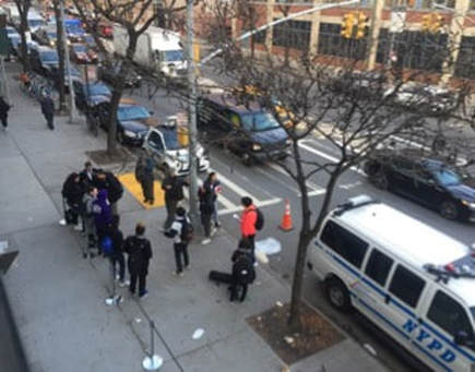 Protesters at Van Dam Street Entrance to LaGuardia Community College. Photo by author.