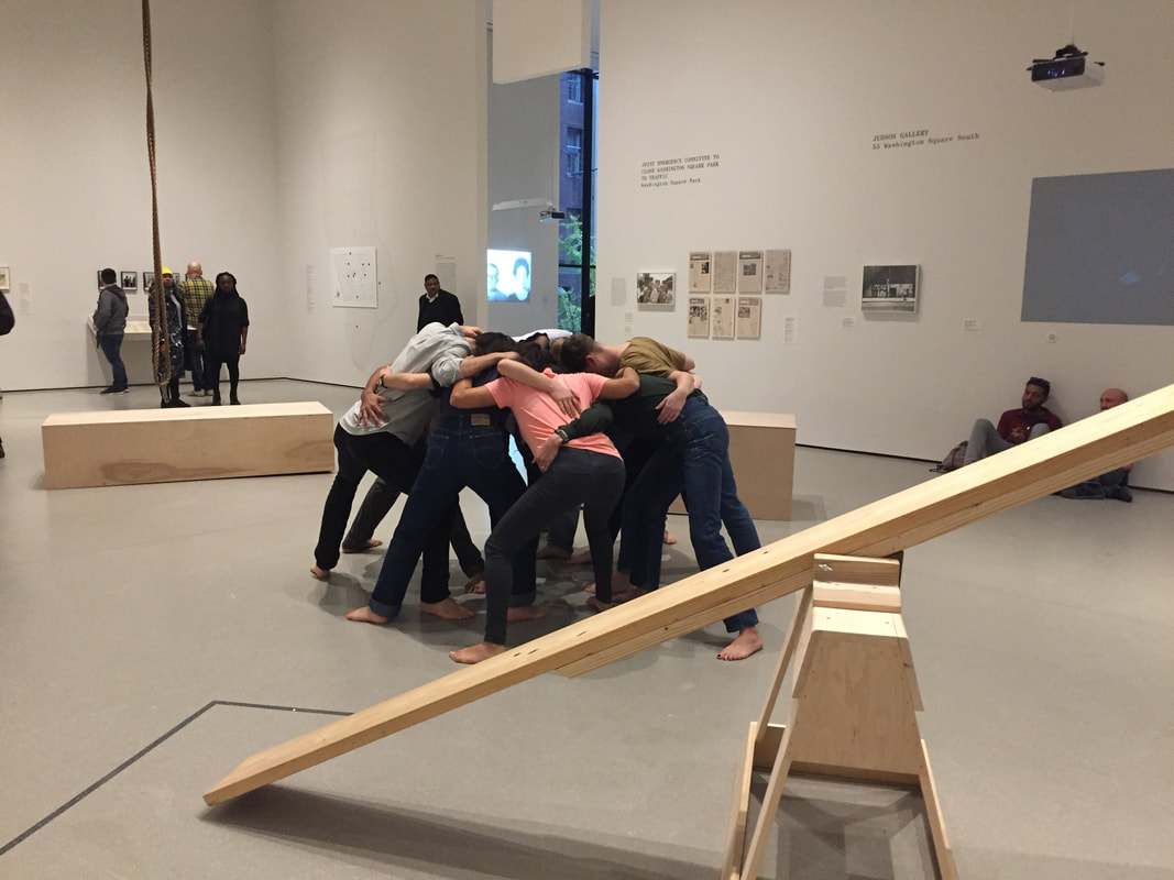 "Simone Forti, ""Huddle"" performed in the gallery. Photo by author."
