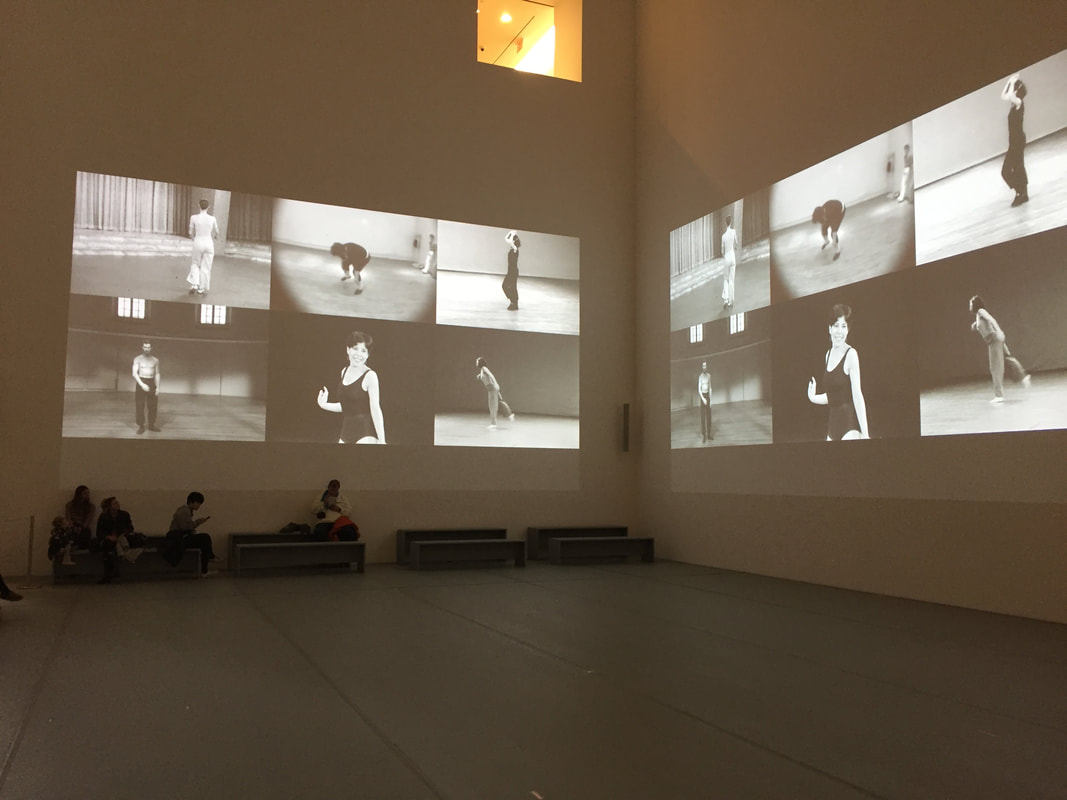 Charles Atlas, Moving-Image Installation in the Donald B. and Catherine C. Maroon Atrium, in MoMA's Judson Dance Theater: The Work Is Never Done, 2018. Photo by author.