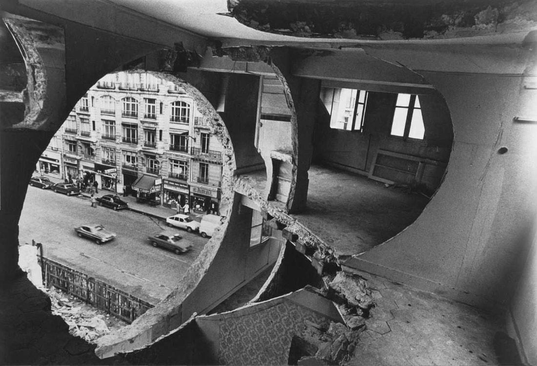 """Conical Intersect,"" Gordon Matta-Clark. Courtesy of: BMIAA, http://www.bmiaa.com/splitting-cutting-writing-drawing-eating-gordon-matta-clark-exhibition-at-culturgest-lisboa/."