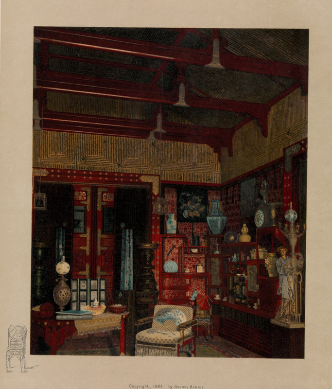 """""""Japanese Parlor, North West Corner."""" Earl Shinn, Mr. Vanderbilt's House and Collection, described by Edward Strahan [pseud.]. Two vols. (Philadelphia: G. Barrie & Sons, ca. 1883–1884)"""