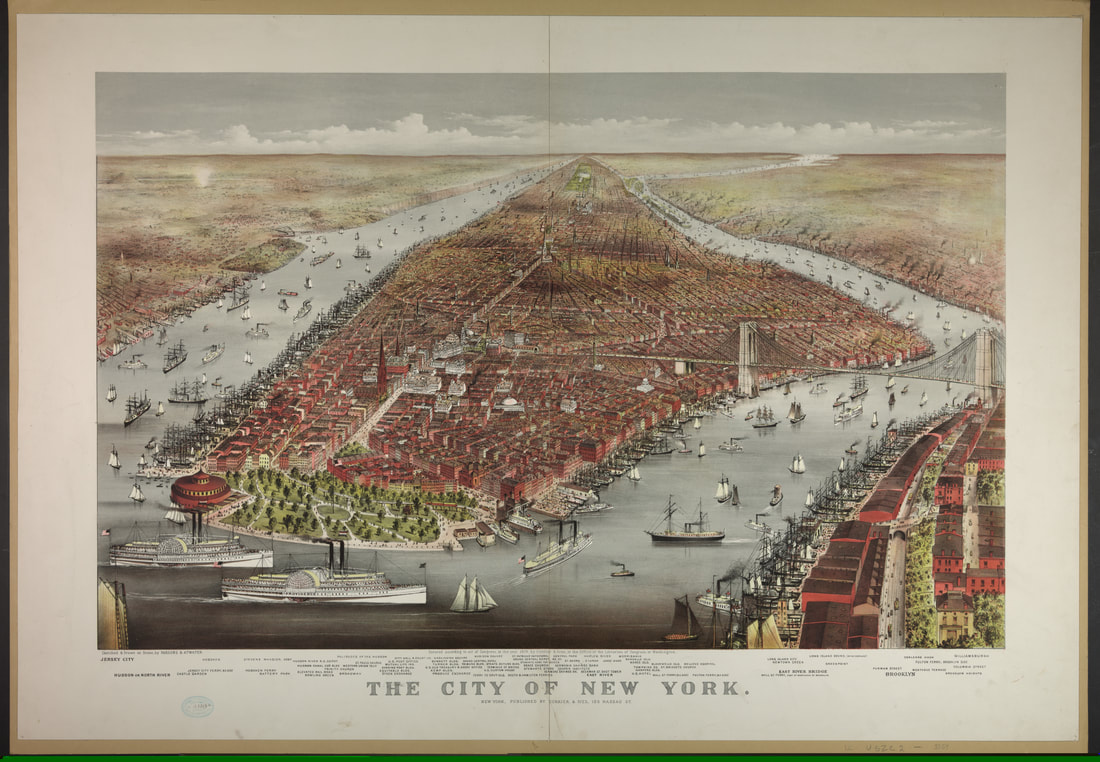 Currier & Ives, The City of New York, 1876. Color lithograph. Library of Congress