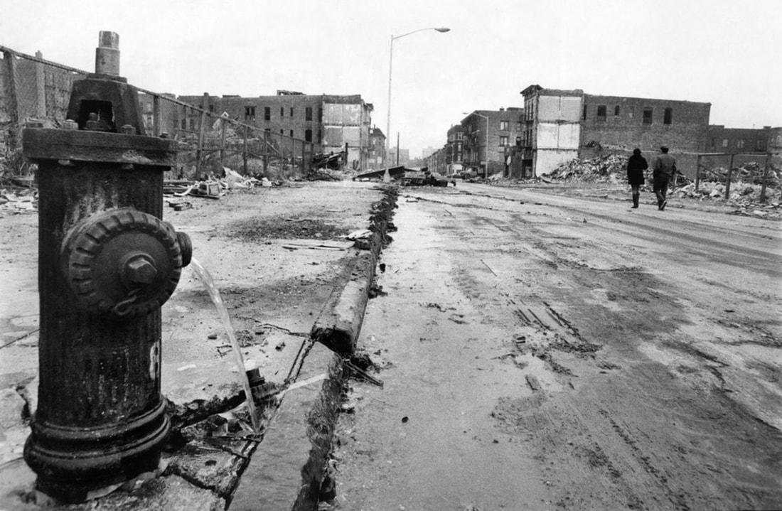 A neglected block in Brownsville, Brooklyn, Dec. 18, 1969. Eddie Hausner/New York Times.