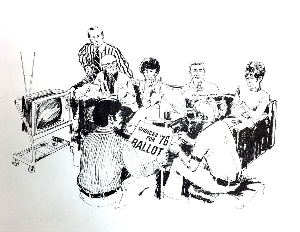 Publicity image featuring a diverse watching group and a CHOICES for '76 ballot. Source: Box 152, Literature, Regional Plan Association records, #2688, CRMC.