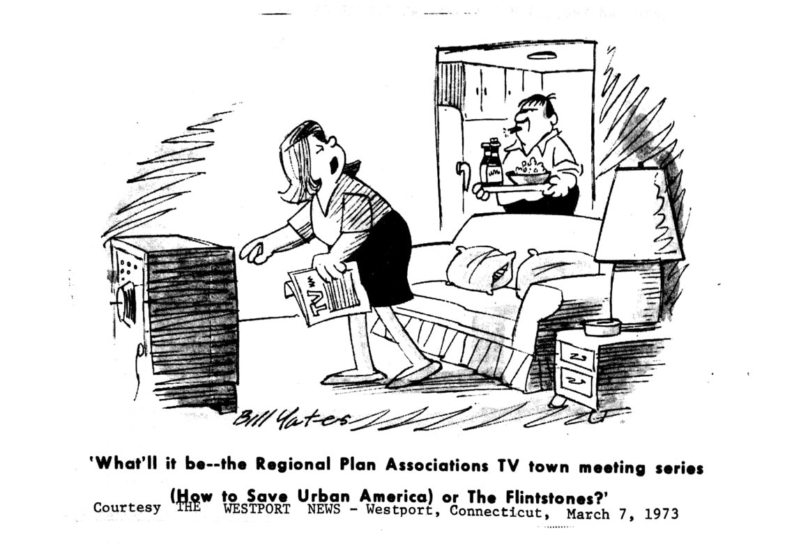 Cartoon from the March 7, 1973 issue of the Westport News (Westport, CT). Regional Plan circulated this cartoon in one of their press releases. Source: News Release No. 1189 (April 11, 1973), Box 156, Publicity: Press Release Files, Regional Plan Association records, #2688, CRMC.