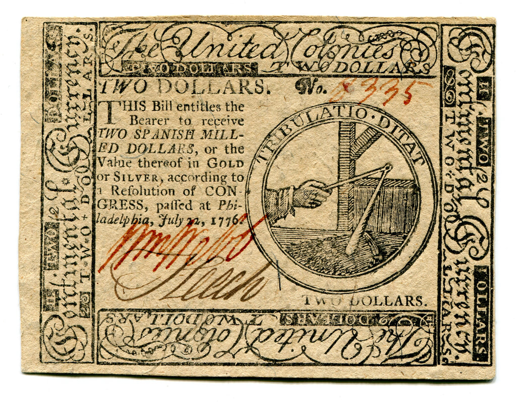 "Image of two dollar ""continental"" currency. Image courtesy of the American Numismatic Society."