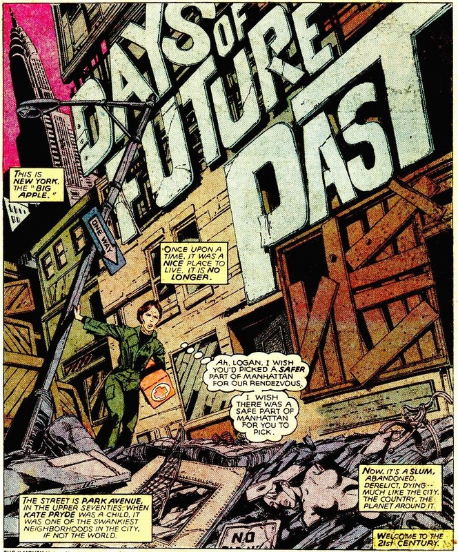 This title page of Days of Future Past (1981) bears a striking resemblance to and advertisement of the film Escape from New York released that same year.