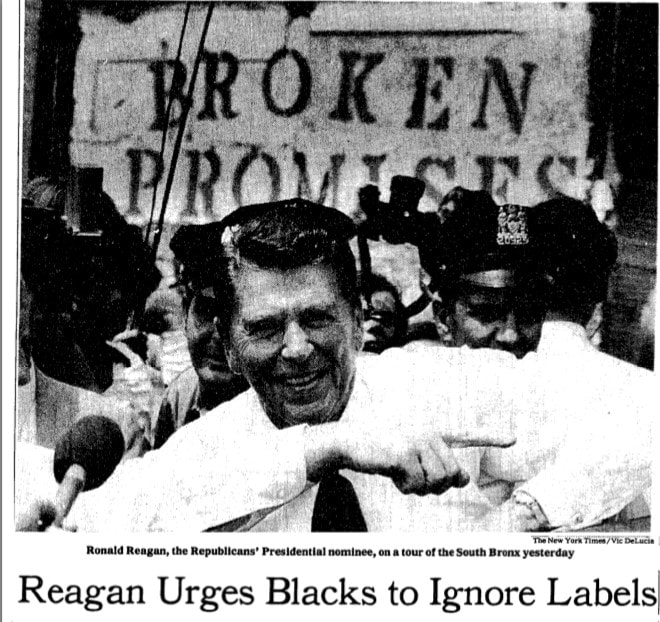 """Douglas E. Kneeland, """"Reagan Urges Blacks to Look Past Labels and to Vote for Him,"""" New York Times, August 6, 1980."""