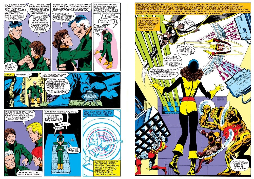 It is 2013 and Kate Pryde embraces her husband Rasputin (Colossus) in the South Bronx Mutant Interment Camp before traveling back to 1980 in the comic Days of Future Past (1981).