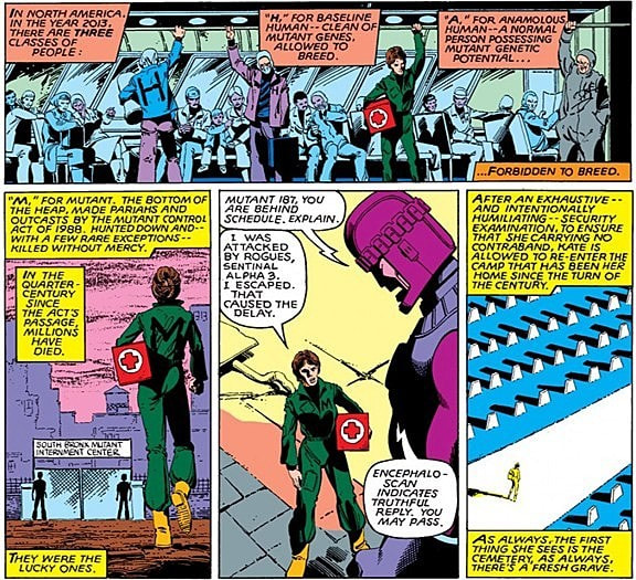 It is 2013 and Kate Pryde arrives at the South Bronx Mutant Interment Camp and is interrogated by robot guards in the comic Days of Future Past (1981).