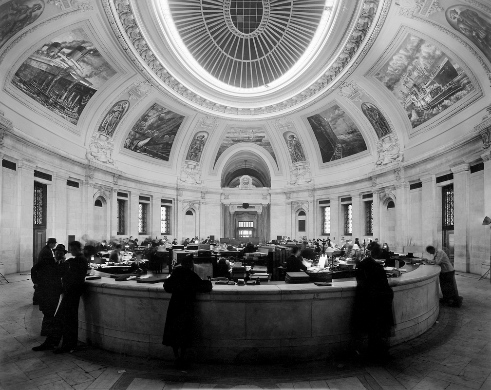 Figure 2:  Rotunda, U.S. Custom House,  1937. Franklin D. Roosevelt Library.