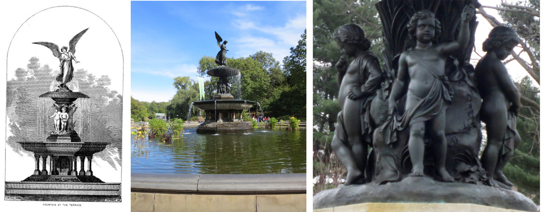 Left: Sketch for Bethesda Fountain in the Annual Report of the Board of Commissioners of Central Park for 1864. Center and right: Emma Stebbins, Bethesda Fountain, dedicated 1873. Photos copyright © 2017 Dianne L. Durante