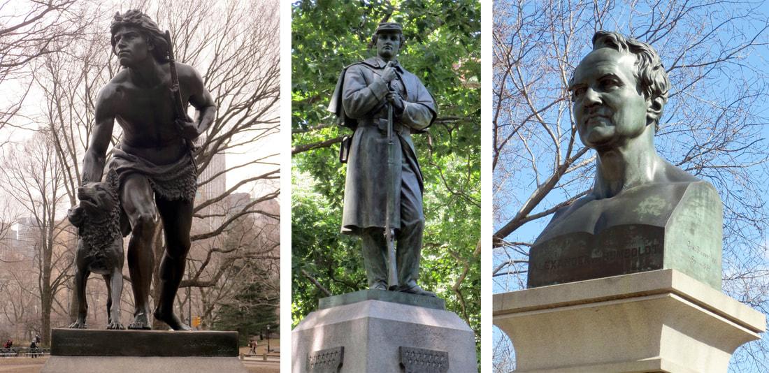 Left: John Quincy Adams Ward, Indian Hunter, dedicated 1869. Center: John Quincy Adams Ward, Seventh Regiment Memorial, dedicated 1869. Right: Gustaf Blaeser, Alexander von Humboldt, dedicated 1869. Photos copyright © 2017 Dianne L. Durante