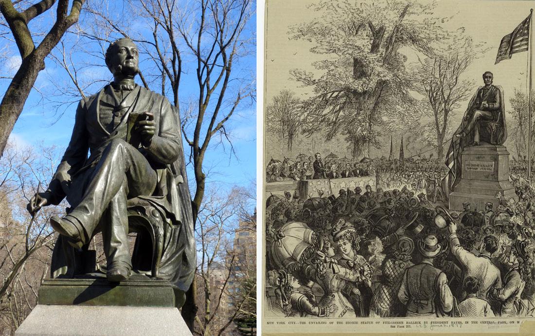 Left: James Wilson Alexander MacDonald, Fitz-Greene Halleck, 1877. Photo copyright © 2017 Dianne L. Durante. Right: Dedication of the Halleck sculpture, 1877. Image: New York Public Library Digital Collections