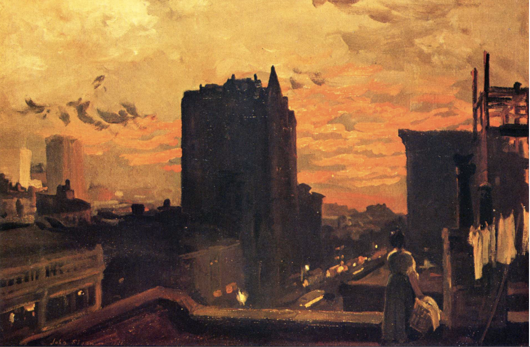 3.2 John Sloan (1871 - 1951),  Sunset West Twenty-Third Street  (23rd Street, Roofs, Sunset), 1906, oil on canvas, 24 3/8 x 36 1/4; 61.91 x 92.1 cm. Joslyn Art Museum, Omaha, Nebraska. 25th Anniversary Purchase, 1957.15.