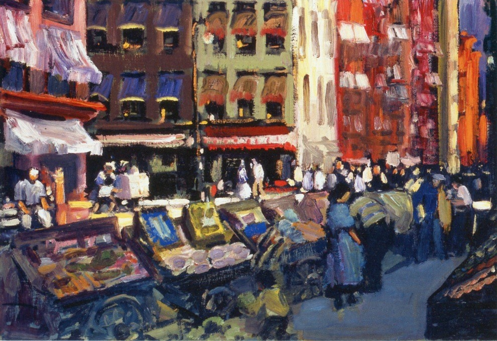 3.3 George Luks (1867 - 1933),  Thompson and Bleecker Streets , ca. 1905, oil on canvas, 20 x 30 inches. Palmer Museum of Art of the Pennsylvania State University. Gift of James and Barbara Palmer. 2005.14.