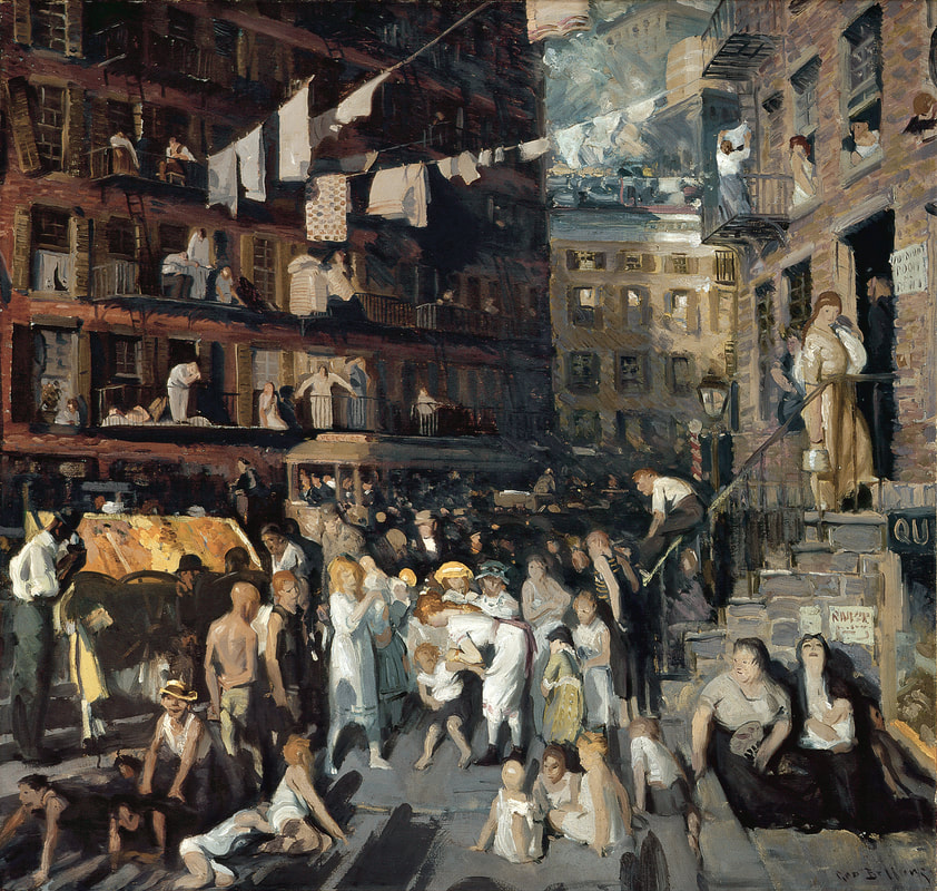3.4 George Wesley Bellows (1882 - 1925),  The Cliff-Dwellers , 1913, oil on canvas, 40 3/16 x 42 1/16; 102.07 x 106.83 cm. Los Angeles County Fund (16.4). Los Angeles County Museum of Art, Los Angeles, California. Digital Image © 2016 Muesum Associates/LACMA. Licensed by Art Resource, New York.