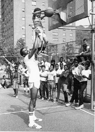 Basketball Clinic at the Queensbridge Houses, July 28, 1970. New York City Housing Authority Collection, LaGuardia and Wagner Archives.